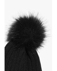 Boohoo - Black Orla Rainbow Faux Fur Pom Beanie Hat - Lyst