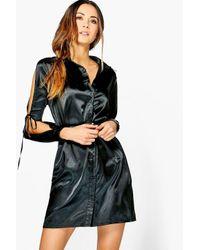 Boohoo | Black Rhiannon Satin Lace Up Shirt Dress | Lyst