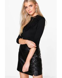 Boohoo | Black Alexis Lace Frill High Neck Top | Lyst