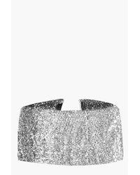 Boohoo - Metallic Felicity Wide Glitter Choker - Lyst