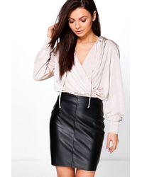 Boohoo | Multicolor Aubrey Silky Premium Hooded Top | Lyst