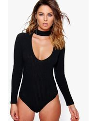 Boohoo - Black Maisie Choker Rib Knit Bodysuit - Lyst