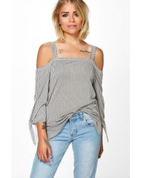 Boohoo | Multicolor Amy Cold Shoulder Stripe Top | Lyst