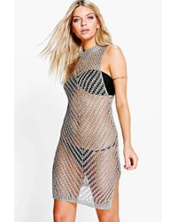 f6b0509796 Boohoo Boutique Matilda Metallic Knit Beach Dress in Metallic - Lyst