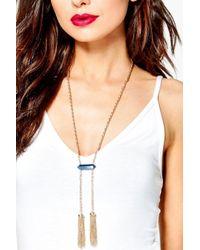 Boohoo - Metallic Abbie Tassel Statement Plunge Necklace - Lyst