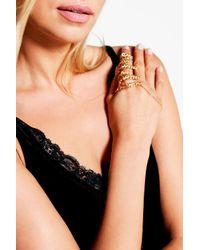 Boohoo - Metallic Elena Leaf And Chain Ring Hand Harness - Lyst