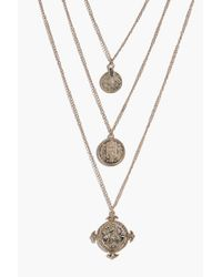 Boohoo - Metallic Zoe Coin And Embellished Layered Necklace - Lyst