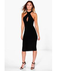 Boohoo | Black Jo Slinky High Neck Ruched Detail Midi Dress | Lyst