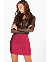 Boohoo Multicolor Luella Disco Rib Mini Skirt