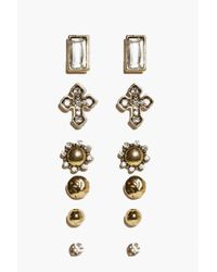Boohoo - Metallic Ellie Ornate Cross Multipack Earrings - Lyst
