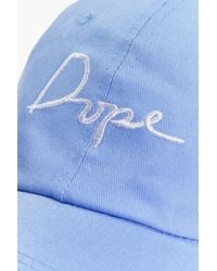 Boohoo - Blue Abigail Dope Slogan Baseball Cap for Men - Lyst