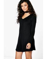 f2adbd8262 Boohoo Ava Long Sleeve Choker Style Playsuit in Black - Lyst