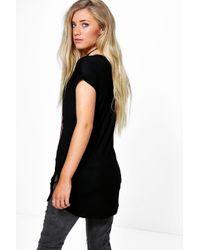 Boohoo - Black Katie Nyc Print Turn Back Sleeve Tee - Lyst