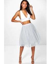 Boohoo - Gray Boutique Amara Knee Length Tulle Skirt - Lyst