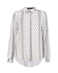 Boohoo - White Lily Printed Oversized Shirt - Lyst