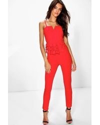Boohoo Boutique Kellie Lace Peplum Jumpsuit in Red | Lyst