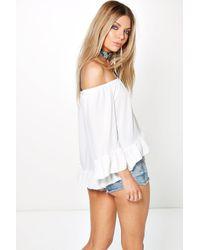 Boohoo - White Tanya Off The Shoulder Bardot Gypsy Top - Lyst