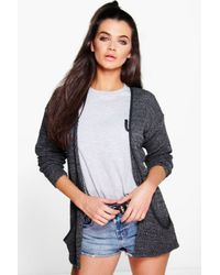 Boohoo | Gray Amber Loose Knit Slouchy Pocket Cardigan | Lyst