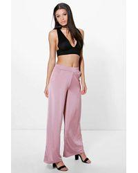 Boohoo - Pink Matilda Pocket Side Wide Leg Trousers - Lyst