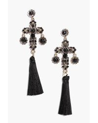 Boohoo | Metallic Mia Stone Cross Tassle Statement Earrings | Lyst