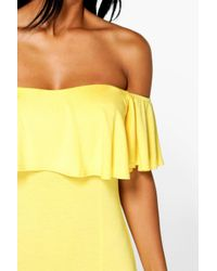 Boohoo - Yellow Lola Ruffle Split Side Maxi Dress - Lyst