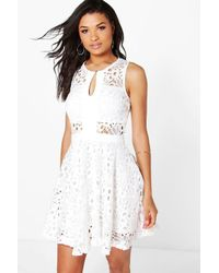 Boohoo - White Boutique Jasmine Crochet Dress - Lyst