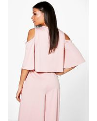 Boohoo - Pink Faith Crepe Cold Shoulder Top - Lyst