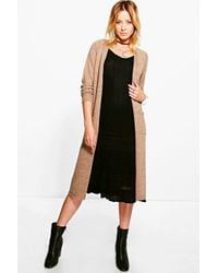 Boohoo - Black Lacey Long Edge To Edge Cardigan - Lyst