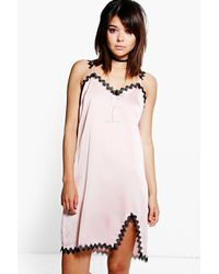 Boohoo - Pink Niamh Lace Trim Slip Dress - Lyst