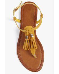 Boohoo - Brown Ruby Tassel Trim Thong Sandal - Lyst