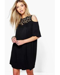 Boohoo - Black Cara Lace Cold Shoulder Swing Dress - Lyst