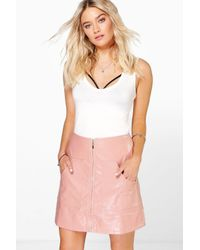 Boohoo - Black Gisella Pocket Front Leather Look A Line Skirt - Lyst
