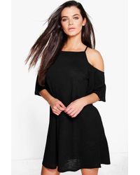 Boohoo - Black Lucia Strappy Textured Cold Shoulder Swing Dress - Lyst