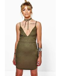 Boohoo - Green Neve Suedette Tie Neck Curved Hem Bodycon Dress - Lyst