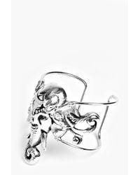 Boohoo - Metallic Amy Casted Elephant Head Boho Bracelet - Lyst