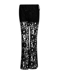 Boohoo | Black Charli Tie Side Corded Lace Flares | Lyst