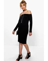 Boohoo - Black Ria Off The Shoulder Midi Dress - Lyst