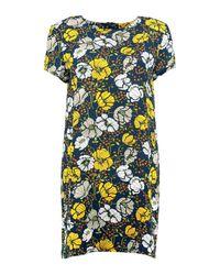 Boohoo - Black Meili Floral Print Cap Sleeve Shift Dress - Lyst