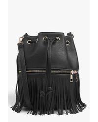 Boohoo Ella Fringed Zip Detail Duffle Bag In Black Lyst