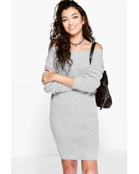 ea51f43502b4 Lyst - Boohoo Megan Slash Neck Jumper Dress in Gray