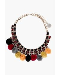 Boohoo - Metallic Darcey Pom Pom Necklace - Lyst