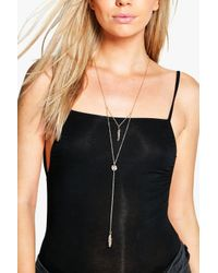 Boohoo - Metallic Anna Skinny Plunge Leaf Detail Necklace - Lyst