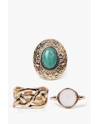 Boohoo   Metallic Sofia Multi Stone Ring Pack   Lyst