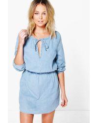 Boohoo - Blue Ella Oversized Denim Smock Dress - Lyst