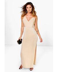 00e6fb766de31 Lyst - Boohoo Lacy Strappy Drape Front Thigh Split Maxi Dress in ...