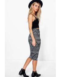 Boohoo - Multicolor Ayah Geometric Diamond Print Midi Skirt - Lyst