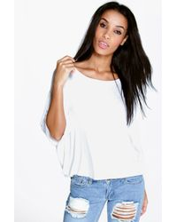 Boohoo - White Sofia Boxy Half Sleeve T-shirt - Lyst