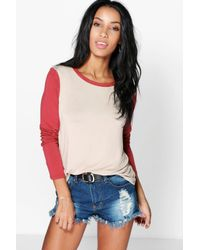 Boohoo - Gray Grace Contrast Sleeve + Neck T-shirt - Lyst