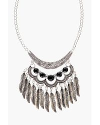 Boohoo - Black Amelia Stone And Leaf Statement Necklace - Lyst