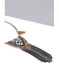 Boohoo - Metallic Serena Plate Detail Statement Necklace - Lyst